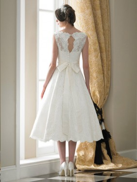 Louella tea length wedding dress by Nicola Anne at Limelight Occasions