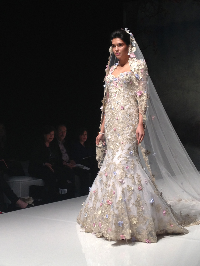 Papillon, lace wedding dress in gold with multi coloured flowers and matching veilIan Stuart trunk show at Limelight Occasions Lady Luxe 2015 collection 10% discount