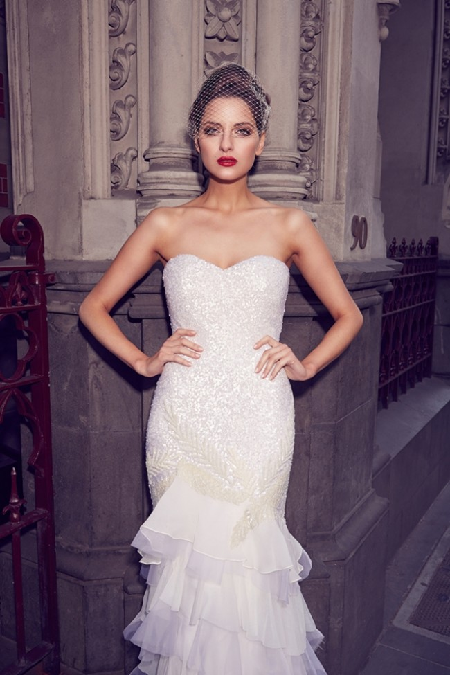 strapless beaded bodice wedding gown with ruffled skirt, Karen Willis Holmes beaded wedding dresses at Limelight Occasions, Flagship store in New York and Sydney, KWH designer wedding dresses, KWH, designer bridal gowns at Limelight Occasions