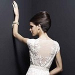 beaded back detail KWH wedding dress at Limelight Occasions, bridal gown with beautiful beaded back by Karen Willis Holmes at Limelight Occasions