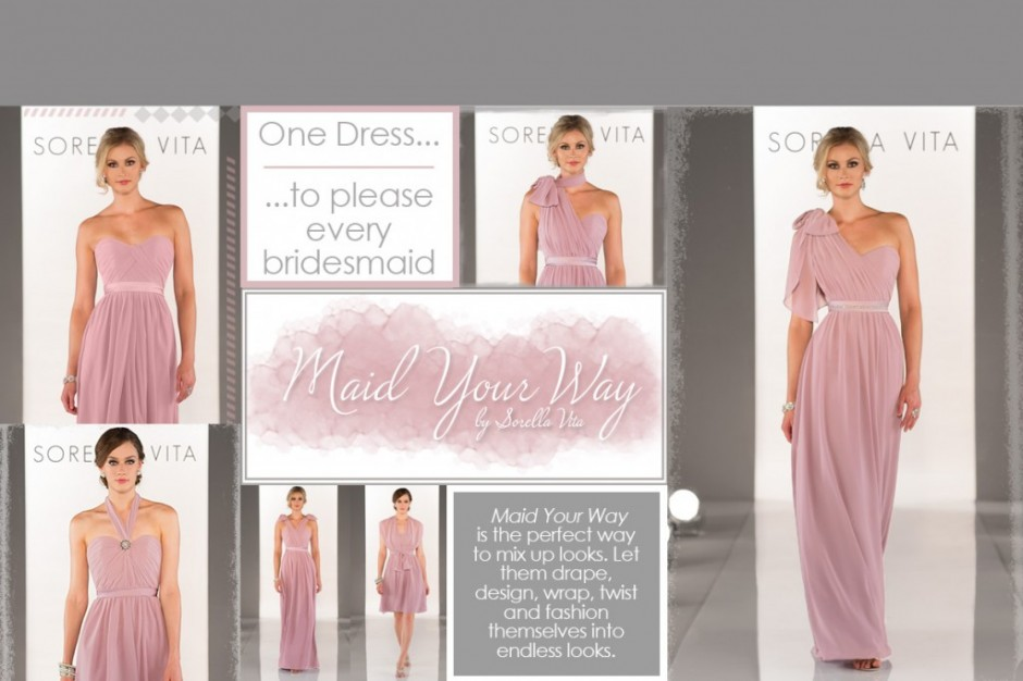 maid your way bridesmaids dresses by sorella vita at limelight occasions near leeds huddersfield and wakefield in west yorkshire,  style your bridesmaids in different ways with the same dress as versatile as two birds bridesmaid dresses, bridesmaids dresses that can be styled individually, bridesmaids dresses with halter neck straps, bridesmaids dresses with one shoulder strap, bridesmaids dresses with twisted straps, grecian style bridesmaids dresses at limelight occasions , figure flattering bridesmaids dresses,