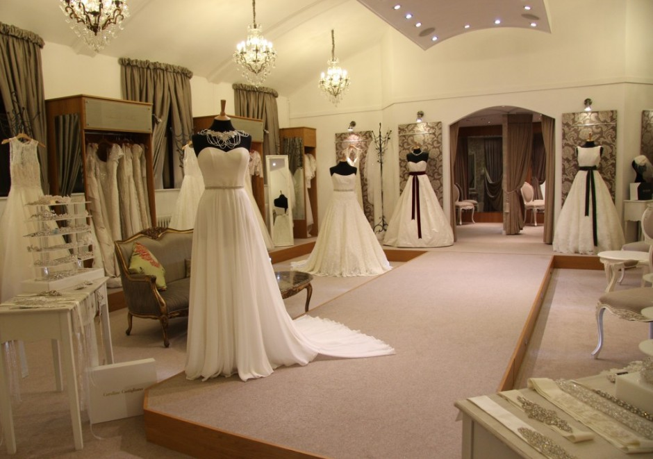 caroline castigliano catwalk at limelight occasions near leeds huddersfield and wakefield, limelight occasions west yorkshire bridal boutique with a catwalk, west yorskire wedding shop limelight occssions with catwalk, caroline castigliano wedding dresses line the catwalk at limelight occasions,