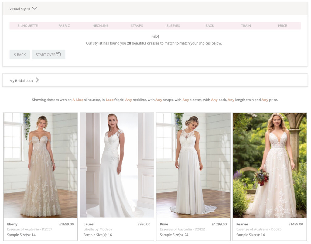 Our Visual Stylist has found 28 dresses that match the perfect dress search criteria A line shape with lace fabric