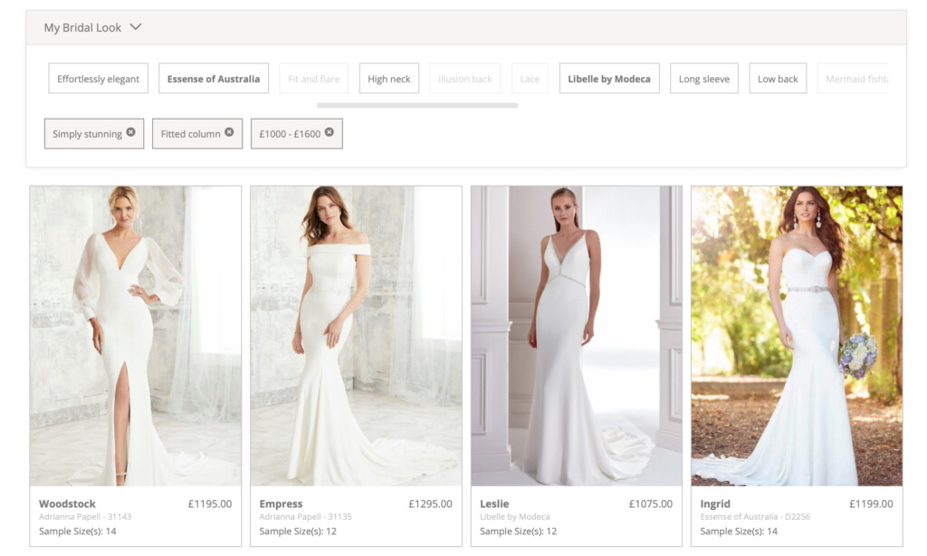 Choose your own style tabs in My Bridal Look to find your perfect wedding dress in the Limelight Look Book