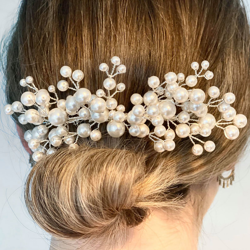 Style your wedding dress with the pear everlasting hair comb AR631 by Arianna Tiaras at Limelight Occasions near Huddersfield Wakefield and Leeds