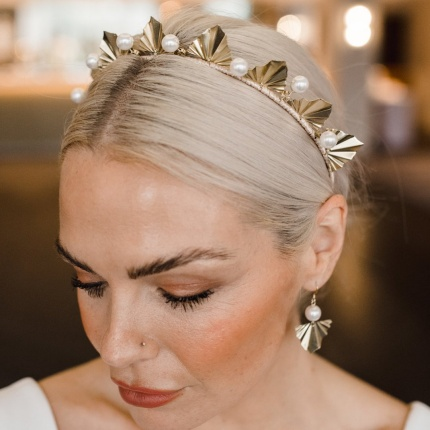 For a sophisticated bridal look, style your wedding dress with Vida Earrings ARE 640 by Arianna Tiaras at Limelight Occasions bridal boutique near Huddersfield, Wakefield and Leeds